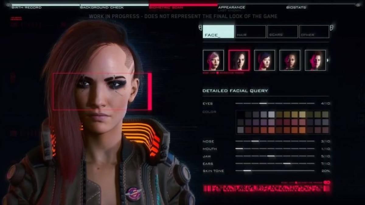 Editor de personajes de Cyberpunk 2077