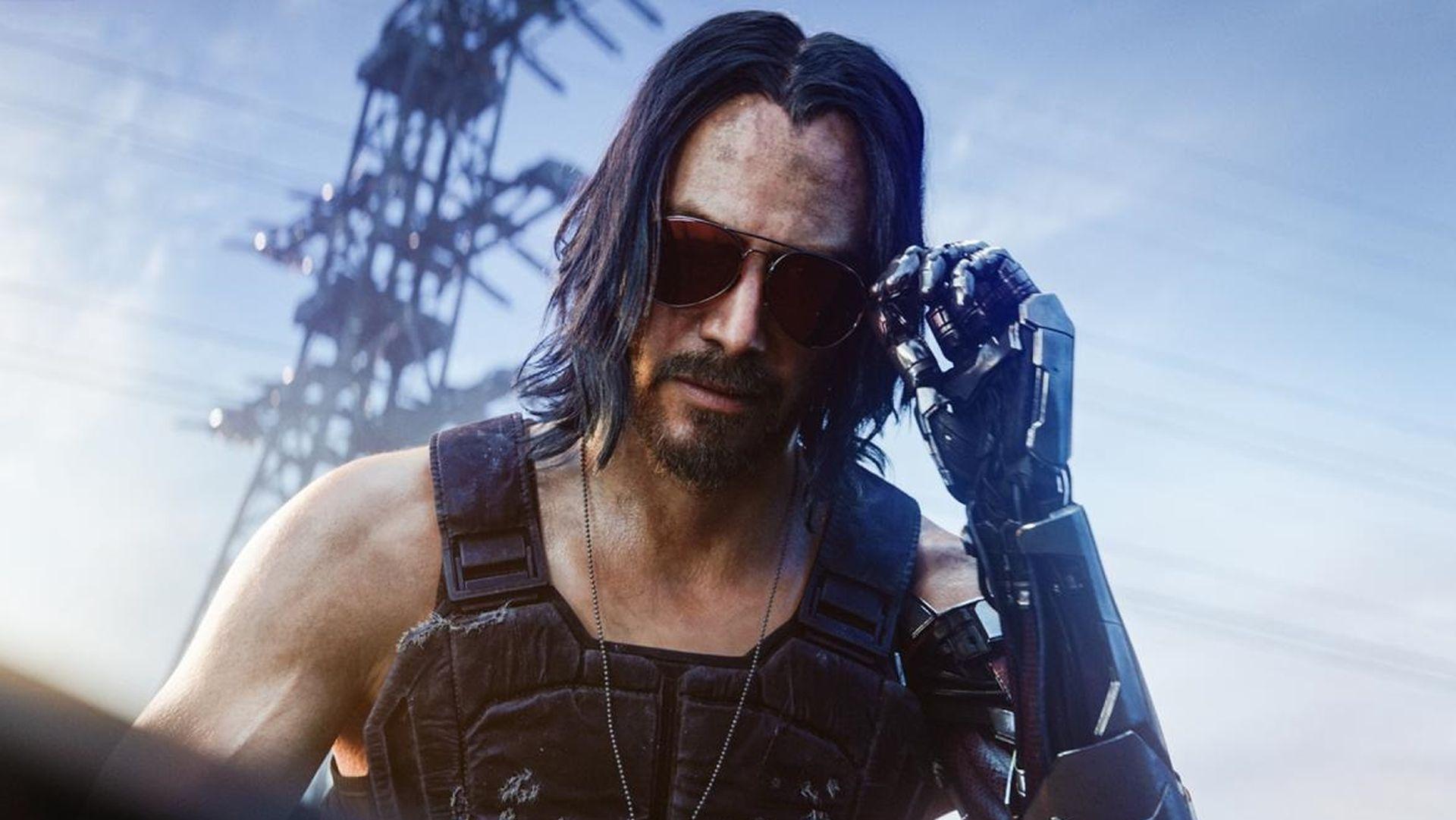 Keanu Reeves interpretando a Johnny Silverhand - Cyberpunk 2077