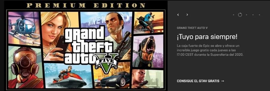 GTA V gratis en EPIC GAMES STORE